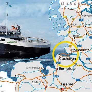 Grafik von Fähre Brunsbüttel nach Cuxhaven